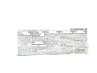 Classified Ad Dated July 4th 1999
